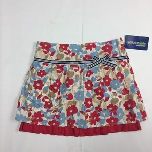 OSHKOSH Skirt Floral Red Blue Tan Pleated Pockets